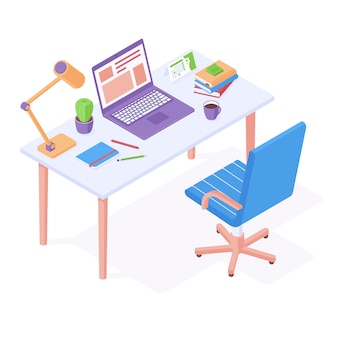 Working place isometric - office chair standing near table with laptop, desktop lamp and stationery.