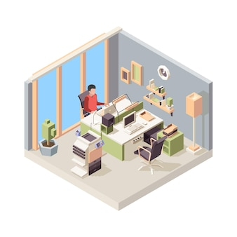 Working place isometric. people businessman sitting on chair working table laptop monitor in office.