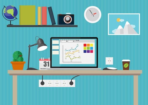Working place modern office interior flat design vector illustration eps10