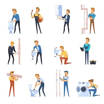 Рабочие сантехники плоские цветные иконки набор