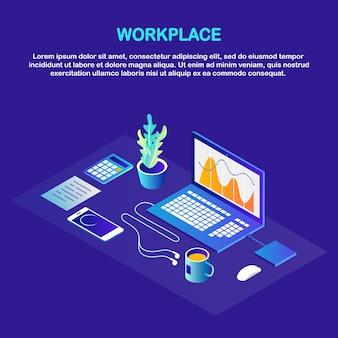 Рабочий процесс. изометрические офисное рабочее место с компьютером, ноутбуком, телефоном, кофе, блокнотом, документом