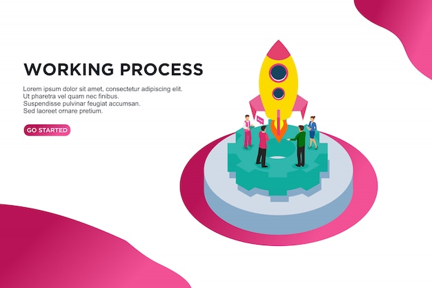 Working process isometric vector illustration concept