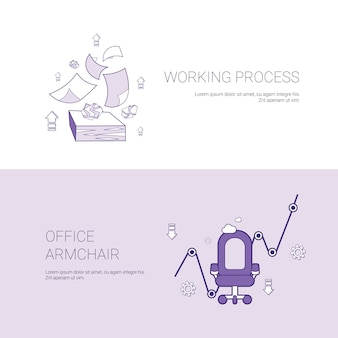 Working process and office armchair concept template web banner with copy space