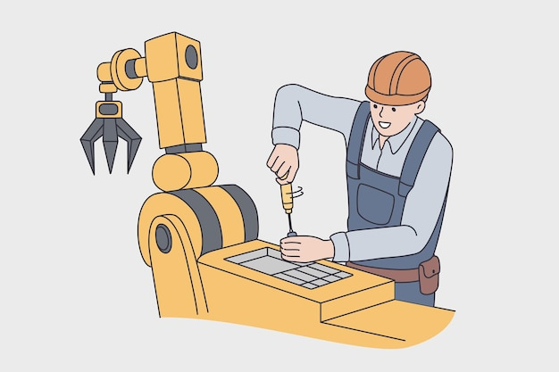 Working on production factory concept. young man worker in uniform and helmet standing repairing automatic machine for production on plant vector illustration