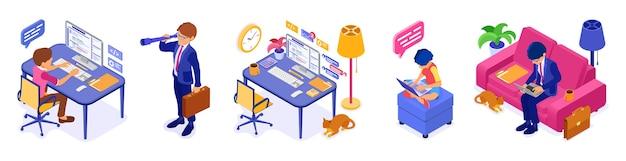 自宅からリモートで作業します。ビジネスマン、プログラマー、女性はソファ、コンピューターのテーブルに座って、自宅のコンピューターで作業しています。