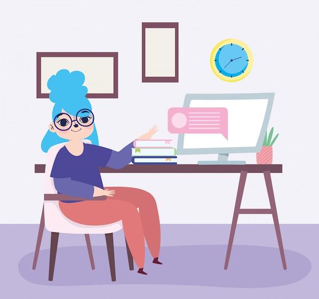リモートで作業して、机のイラストをコンピューターの本で座っている女の子