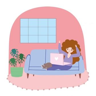 ノートパソコンとソファのイラストを猫と若い女性、リモートで作業