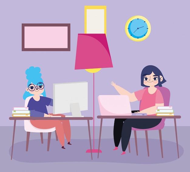 デスクルームの時計とランプのイラストでノートパソコンを持つリモートで若い女性