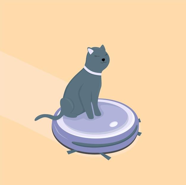 승객과 함께 일하는 로봇 청소기 고양이가 진공 청소기 위에 앉아 있다