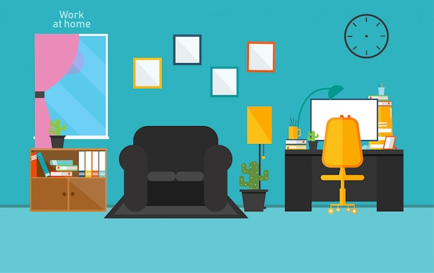 Working room in private room work using vector design