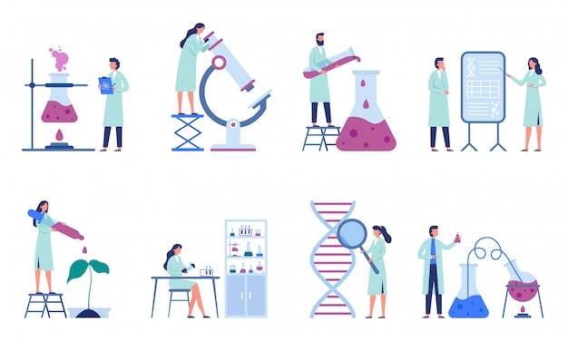 Working scientists. professional lab research, chemistry laboratory workers and science researchers   illustration set