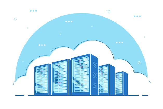 稼働中のサーバーサーバーキャビネット。データストレージ、クラウドストレージ、データセンターのコンセプト。