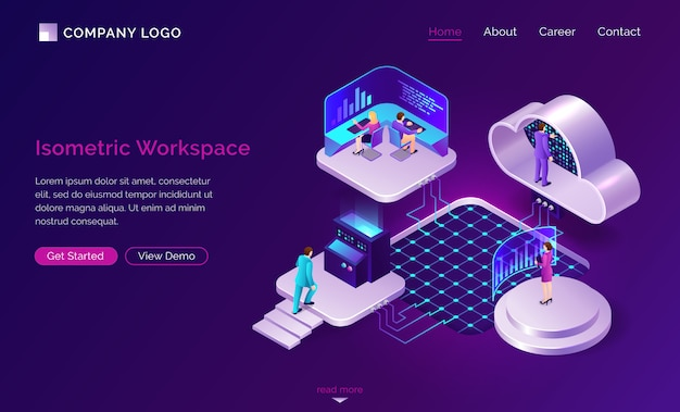 Working space isometric futuristic concept
