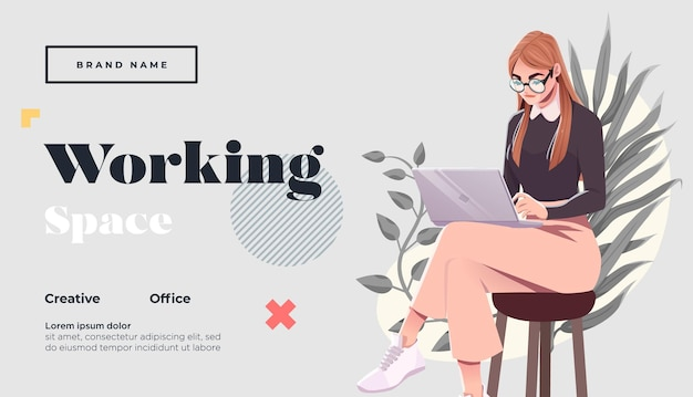 Working space landing page template young female freelancer is sitting in modern hipster cafe