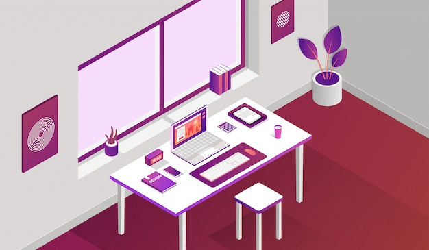 Working space room with isometric elements in front of window