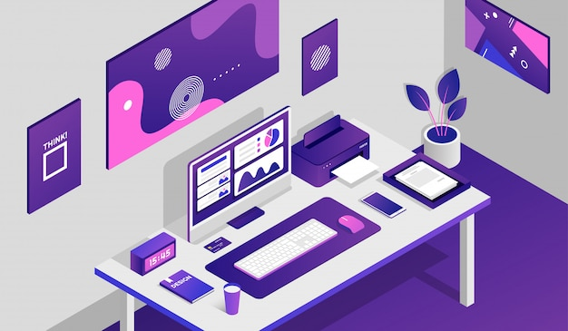 Working space room with isometric elements