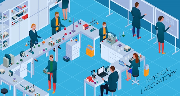 과학 실험실 아이소 메트릭 수평에서 연구하는 동안 화학 및 물리적 장비를 갖춘 직원