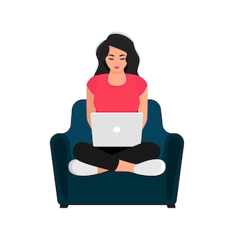 Working studying at home. girl with laptop sitting on armchair. concept illustration for working, studying, education, work from home, healthy lifestyle. vector illustration