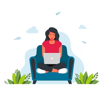 Working studying at home. people at home in self quarantine. freelance. girl with laptop sitting on armchair. concept illustration for working, studying, education, work from home, healthy lifestyle.