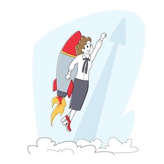 작업 성공, 시작. 행복한 비즈니스 여성 또는 관리자가 목표 달성을 위해 jetpack을 타고 날아갑니다.