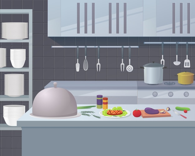 Working surface kitchen restaurant for cooking