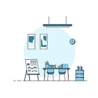 작업 테이블 평면 디자인, 가구가 있는 작업용 책상 인테리어의 개념. 컴퓨터, 데스크탑, 테이블, 의자, 책 및 고정 장비가 있는 작업실. 집에서 일하는 만화 삽화.