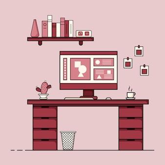 ワーキング テーブル フラット デザイン 家具付きのワーキング デスク インテリアのコンセプト コンピューター デスクトップ テーブル 椅子 本と固定機器を備えた作業室 在宅勤務漫画