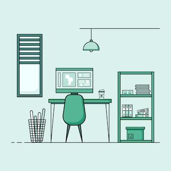 ワーキングテーブルフラットデザイン家具付きワーキングデスクインテリアのコンセプトコンピューターデスクトップテーブルチェアブックと固定設備を備えたワークルーム