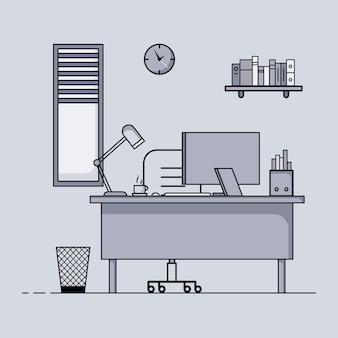 Рабочий стол плоский дизайн концепция интерьера рабочего стола с мебелью рабочая комната с компьютером, настольным столом, стулом, книгой и стационарным оборудованием