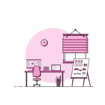 Working table flat design, concept of working desk interior with furniture. work room with computer, desktop, table, chair, book, and stationary equipment. work from home cartoon illustration.
