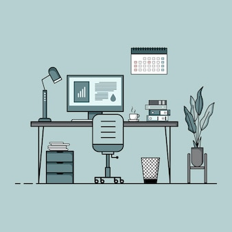 Working table flat design concept of working desk interior with furniture work room with computer desktop table chair book and stationary equipment work from home cartoon