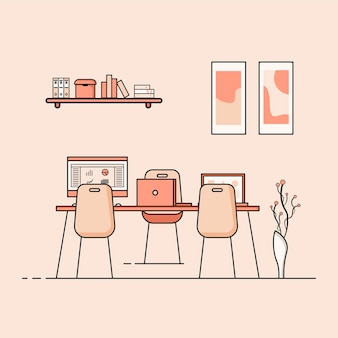 Working table flat design concept of working desk interior with furniture work room with computer desktop table chair book and stationary equipment