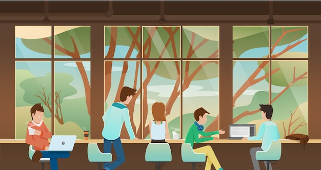 Working, taking together in front of window with nature view outside.