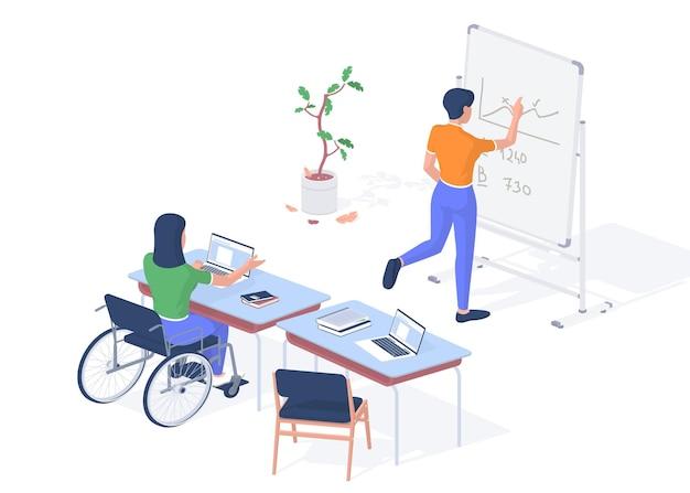 Работающий учитель с ограниченными возможностями. женщина в инвалидной коляске с ноутбуком, читая лекцию. студент возле доски записывает математическую задачу. цифровые гаджеты помогают людям с ограниченными возможностями. векторная реалистичная изометрия
