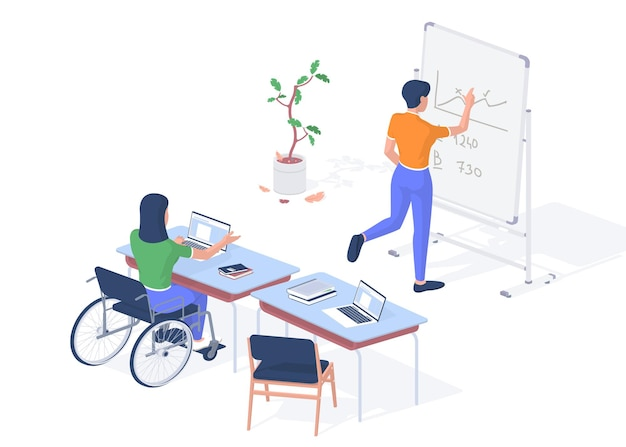Working teacher with disabilities. woman in wheelchair with laptop giving lecture. student near blackboard writes down math problem. digital gadgets help people invalids. vector realistic isometry
