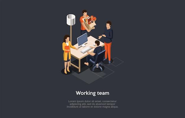 작업 팀 개념 설명. 만화 3d 스타일의 아이소 메트릭 구성.