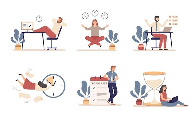 労働時間の計画。作業スケジュール、作業の生産性とタスクの時間管理のイラストセットの整理