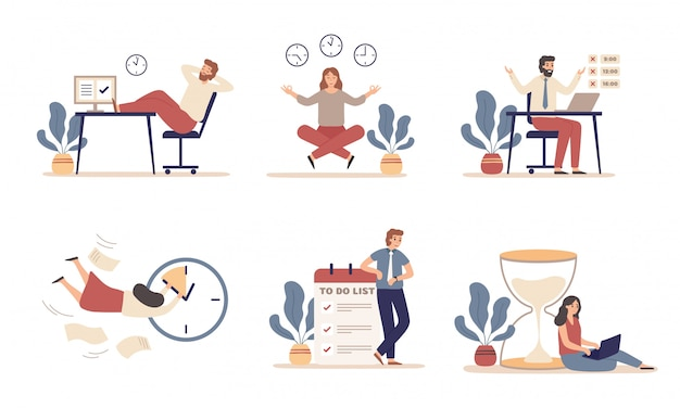 Working time planning. work schedule, organize works productivity and tasks time management   illustration set