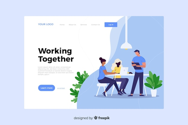 Working together concept for landing page
