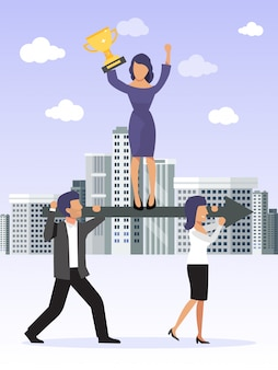 Working together, coordination and developing business. business team leader holds an golden cup, stands on arrow which carried by his workers