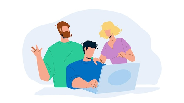 Working together at laptop colleagues team vector. young men and woman working together at computer on workplace. characters discussing and researching togetherness, teamwork flat cartoon illustration