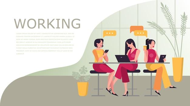 작업 웹 배너 개념입니다. 책상에서 일하는 사람들
