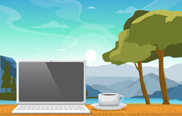 Working with a cup of tea on table in mountain lake view illustration