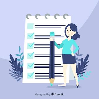 Donna lavoratrice che controlla la lista di controllo gigante Vettore gratuito