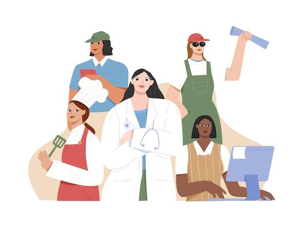 Working woman profession flat illustration