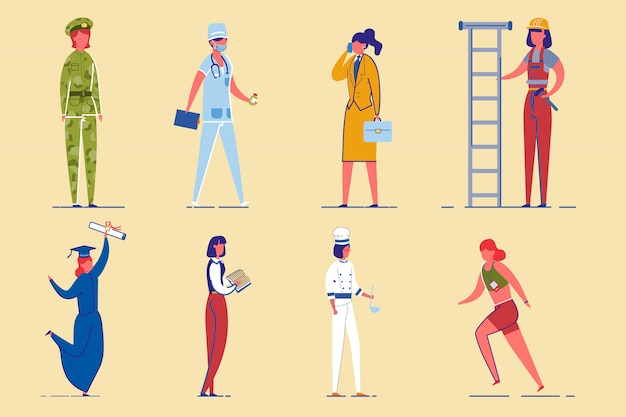 Working women diverse professions characters set.