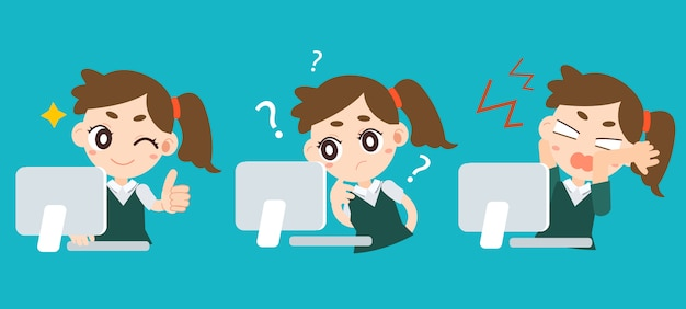 Working women success confused and angry faces