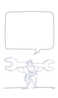 Workman holding big wrench chat bubble labor day sketch doodle
