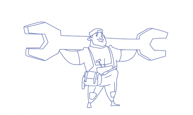 Workman holding big wrench labor day sketch doodle