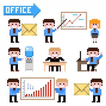 Workmates with infographic elements in pixelated style